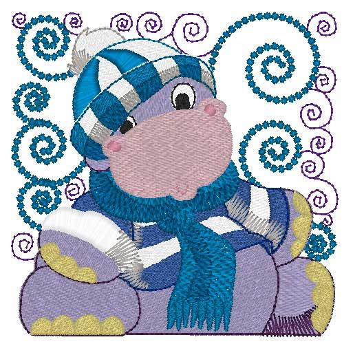 Mylar Curly Winter Hippo