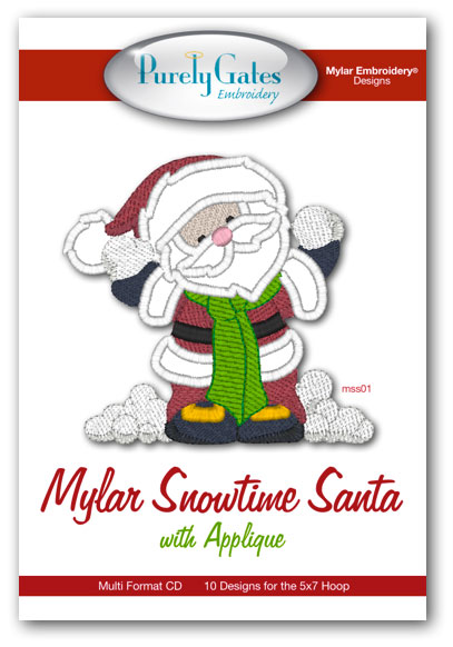 Mylar Snowtime Santa with Applique