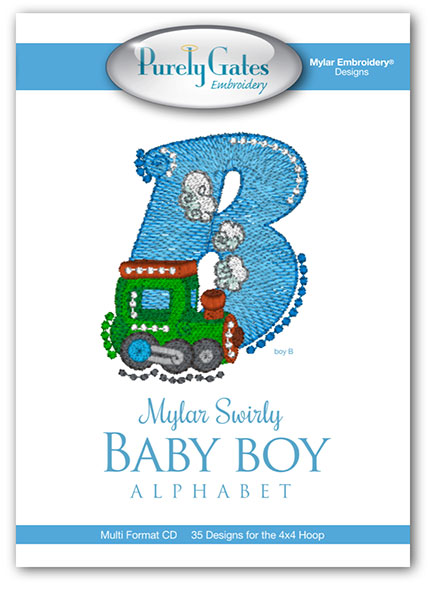 Mylar Swirly Baby Boy Alphabet