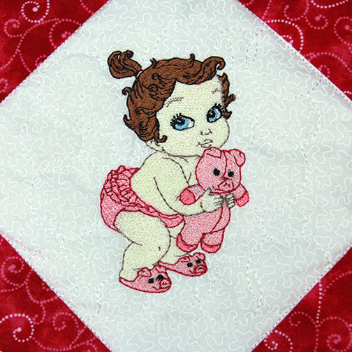Vintage Baby Girls With Mylar Machine Embroidery Design