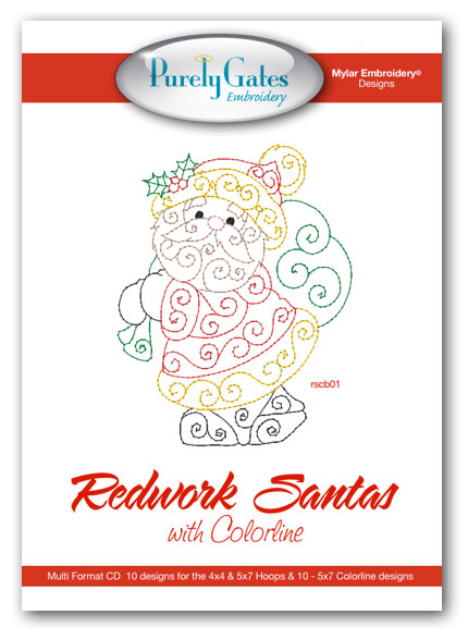 Redwork Santa with Colorline
