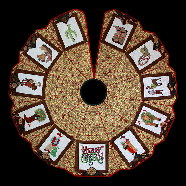 Christmas Tree Skirt Patterns.Cowboy Christmas Tree Skirt 51 X 51 Purely Gates Embroidery