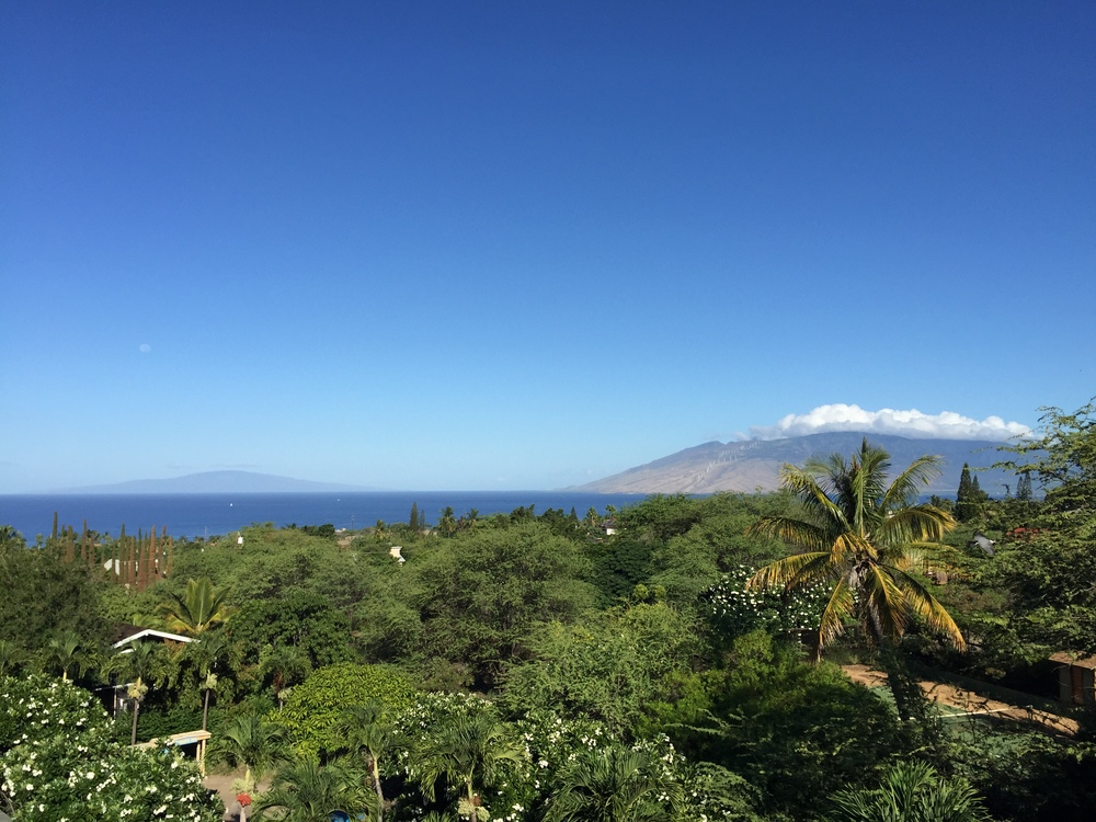 The daytime view of the West Maui Mountains and the island of Lanai from the suite.