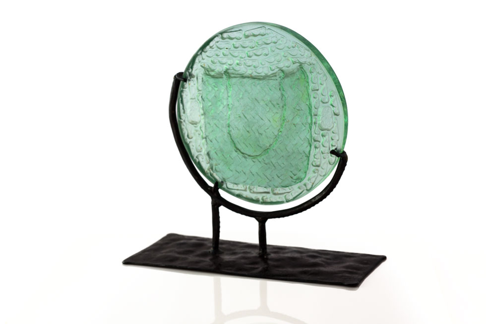 'Spirit Kete' Series - Kiln Cast Glass & Wrought Iron Stand