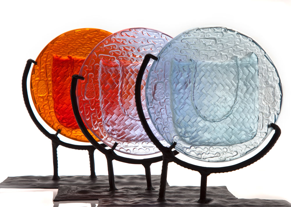 'Spirit Kete' Series - Kiln Cast Glass & Wrought Iron Stands