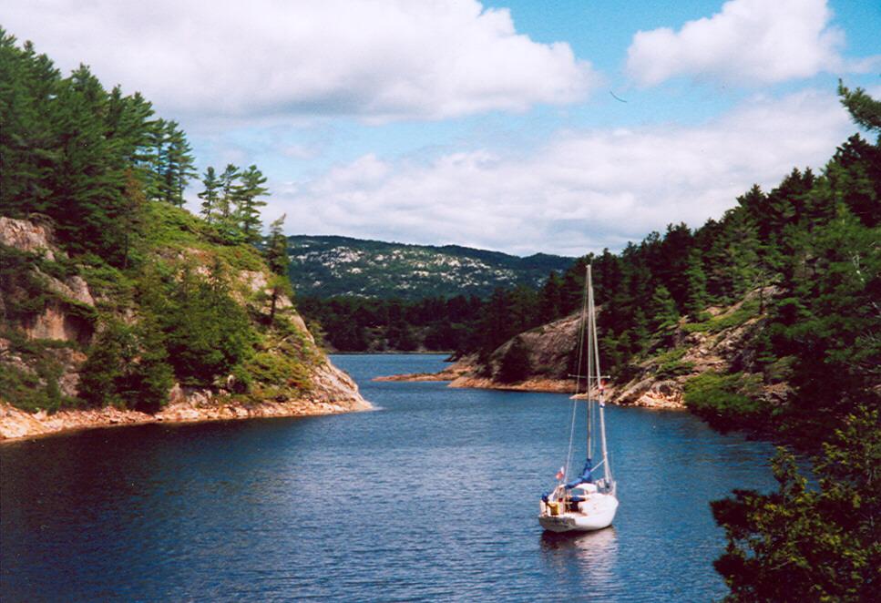 Sailing down Baie Fine