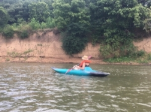 Kayaking with sister, Amy, on the Harpeth River in Tennessee.
