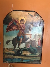 Icon of St. George now hanging slightly askew