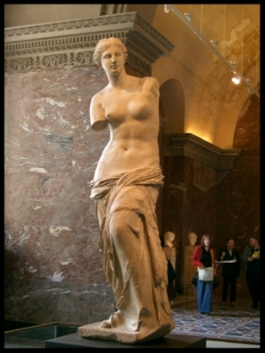 The Venus de Milo . Did you know that a replica was once sent to a museum in San Francisco with no arms? The museum sued the shipping company and WON! Thanks Rick. Little bits of trivia are priceless.