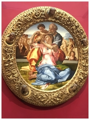 This is the only painting Michelangelo completed (aside from the Sistine Chapel ceiling). He preferred to liberate statues from blocks of marble. Inside information from Rick Steves.