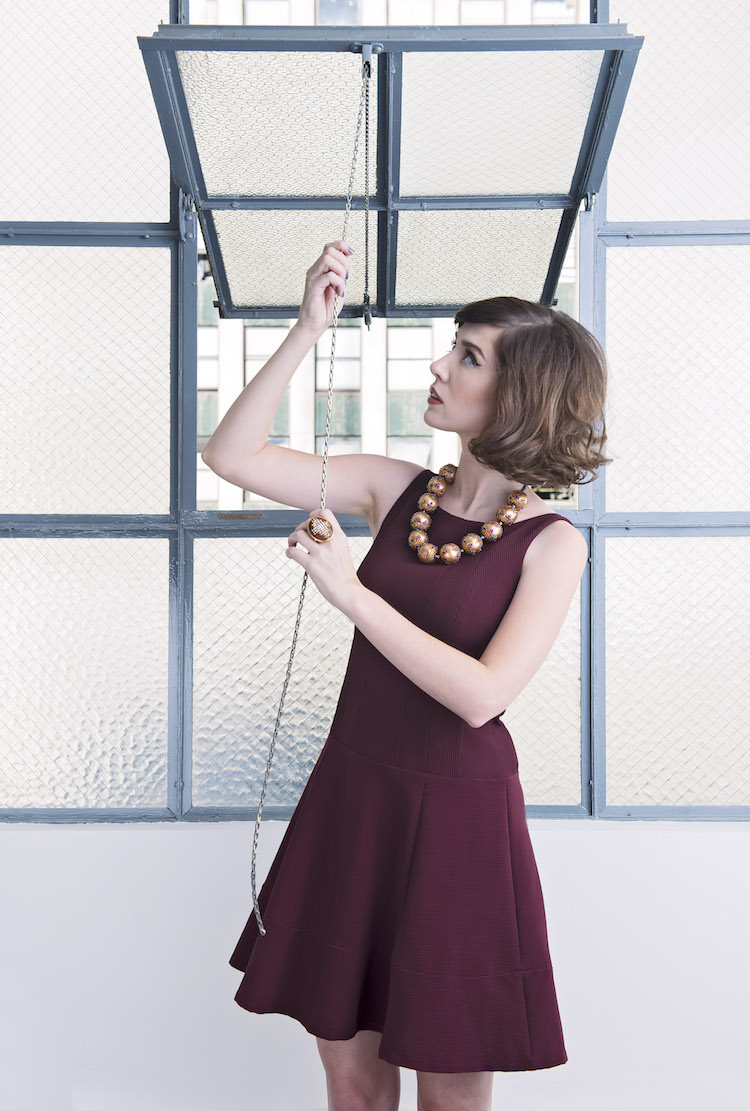 Model, Amy Roiland of A Fashion Nerd; Photography by Bobby Do Right; dress by Nanette Lepore; jewelry by Tarina Tarantino; Styled by The MiA Project.