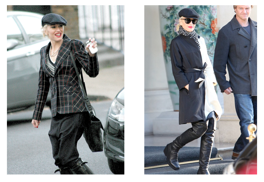 Gwen Stefani is a fan of Kangol Hats. Left, photo via galleryhip.com. Right, photo taken by flynet via UK Glamour Magazine.