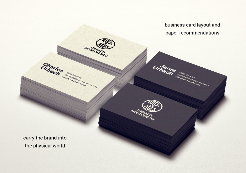 Business card layouts and card stock recommendations help carry the brand into the physical world.