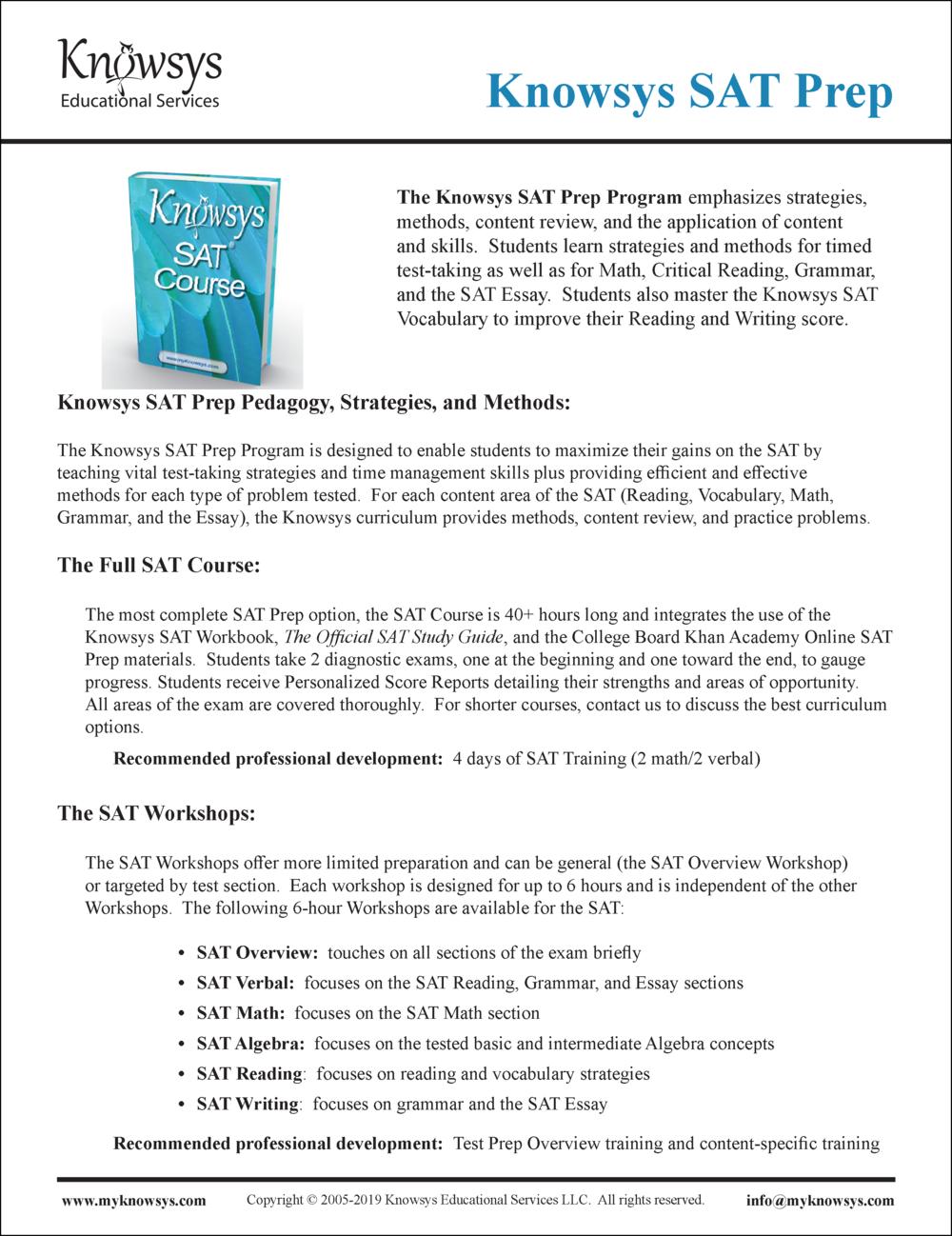 SAT Curriculum Overview