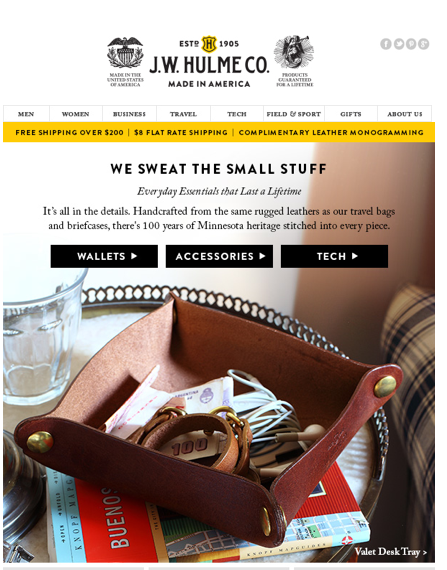 SMALL LEATHER GOODS EMAIL CAMPAIGN:      Small Things, Done With Care