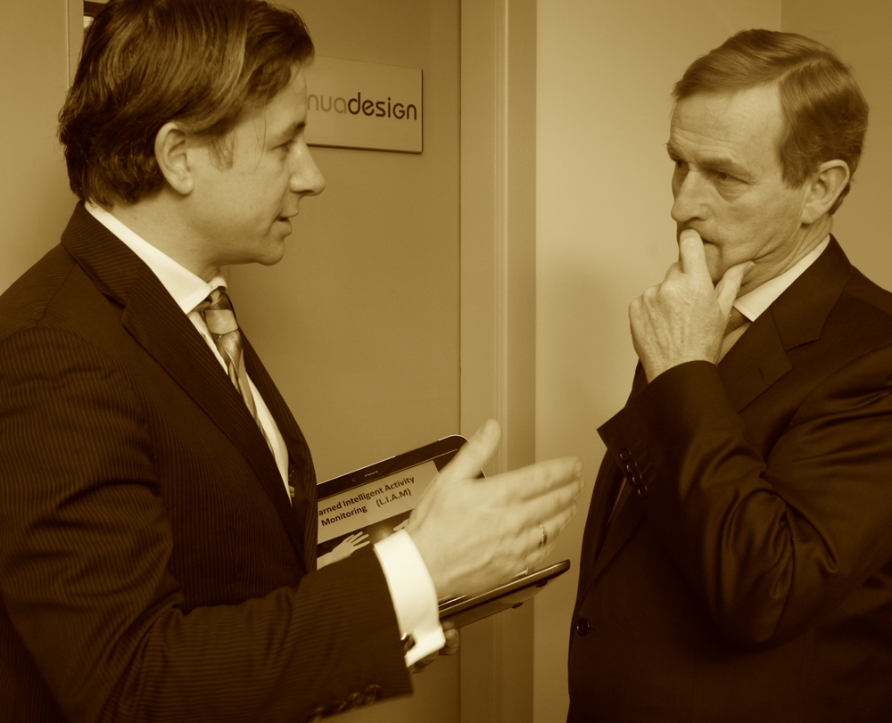 Liam and An Taoiseach Enda Kenny discussing Smart Technology solutions for Older People (WestBic 2014)