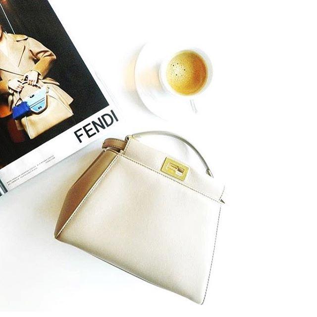Fendi with a cup of espresso ☕️ #fendi #milan #peekaboo #karllagerfeld #espresso #coffee #caffeine #coffeebreak #trends #wvf #dubai