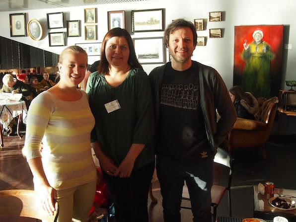 From left to right: Elena, creative travel writer at creativelena.com and member of Creative Tourism Austria; Fjóla, Project Manager at HANDVERK OG HÖNNUN (Craft and Design Association of Iceland); and Nicolas, founder of Creative Iceland; at the Craft and Design Fair, Reykjavik City Hall, 2014.