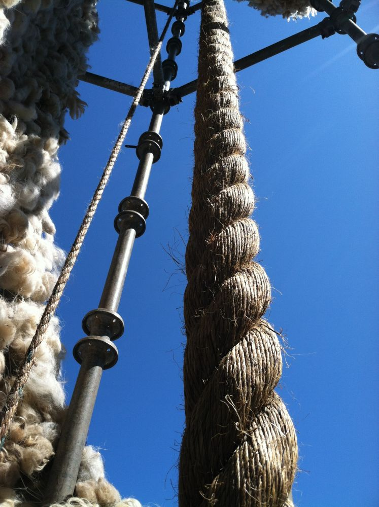 Sisal rope, wool and scaffolding viewpoint from inside