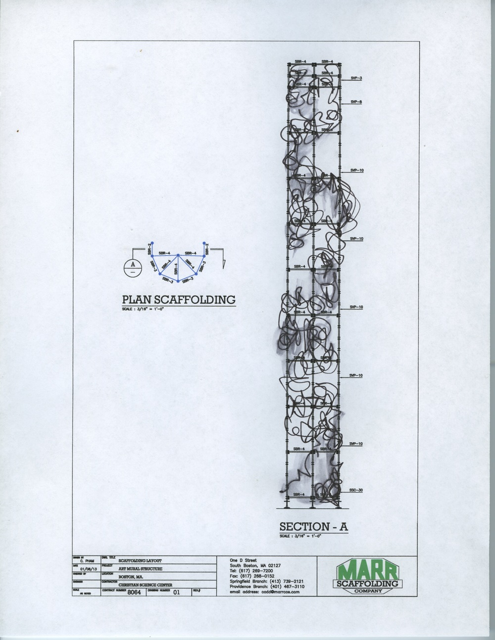 First sketch for  The Lighthouse  over engineering plans by Marr Scaffolding