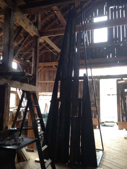 we got to set up a frame inside and took design ideas from the existing boards on the barn