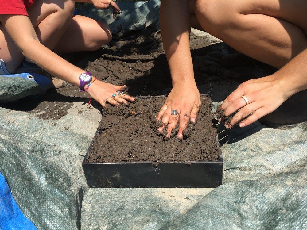 creating cob blocks of earth