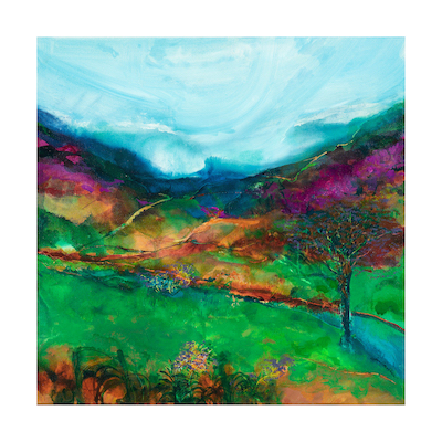 "From Craflwyn along Afon Glaslyn - 50cm sq  ""The never-ending gurgling river, on the road from Beddgelert out to Betws-y-Coed, out to more beauty, more adventure"" Jan Gardner  ""The miracle is not to fly in the air, or to walk on the water, but to walk on the earth. "" Chinese proverb"