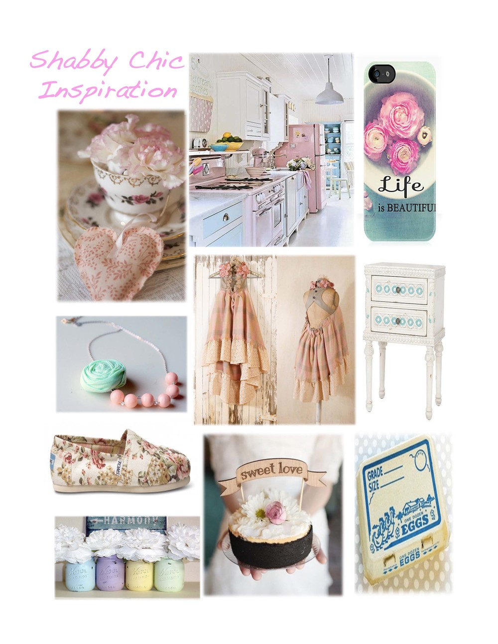 Teacup Florals by  Vintage and Cake   Kitchen Photography by  Deborah Whitlaw Llewllyn   IPhone Case by  Red Bubble   Alternative Wedding Dress by  My Noush   Shabby Chic Dresser by  QVC   Toms by  Toms   Mason Jars by  Country Living at Heart   Cake Topper by  Better Off Wed   Fresh Eggs Packaging by  Shop Sweet Lulu