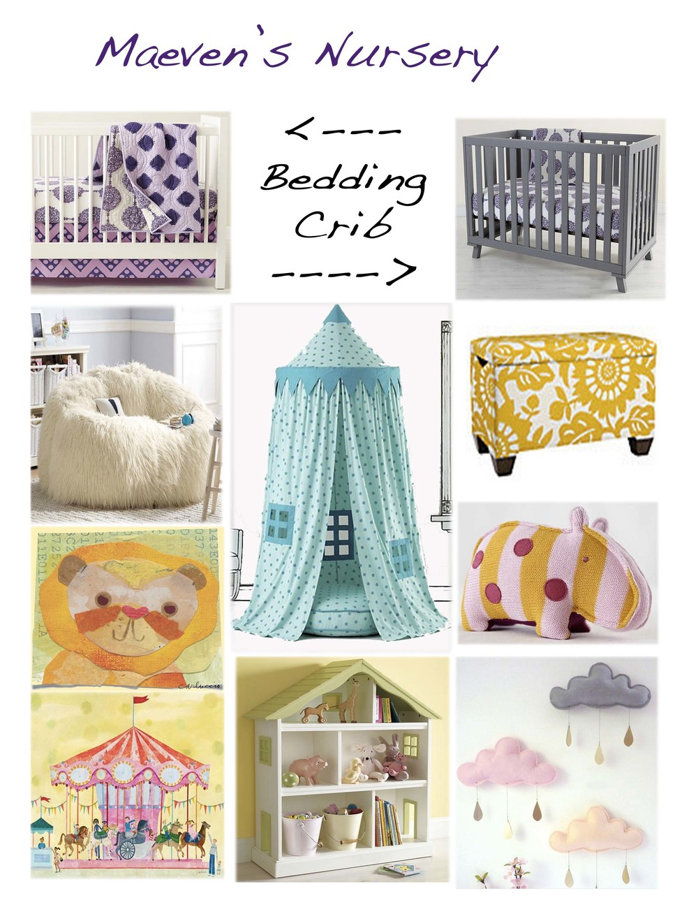 Crib bedding by Land of Nod Grey Crib by Land of Nod Sherpa Couch by Pottery Barn Teen Play Canopy by Land of Nod Toy box by Land of Nod Elephant Animal by Land of Nod Lion Artwork by Oopsy Daisy Carousel Artwork by Oopsy Daisy Dollhouse bookcase by Land of Nod Cloud Mobile by Le Petit Papilon