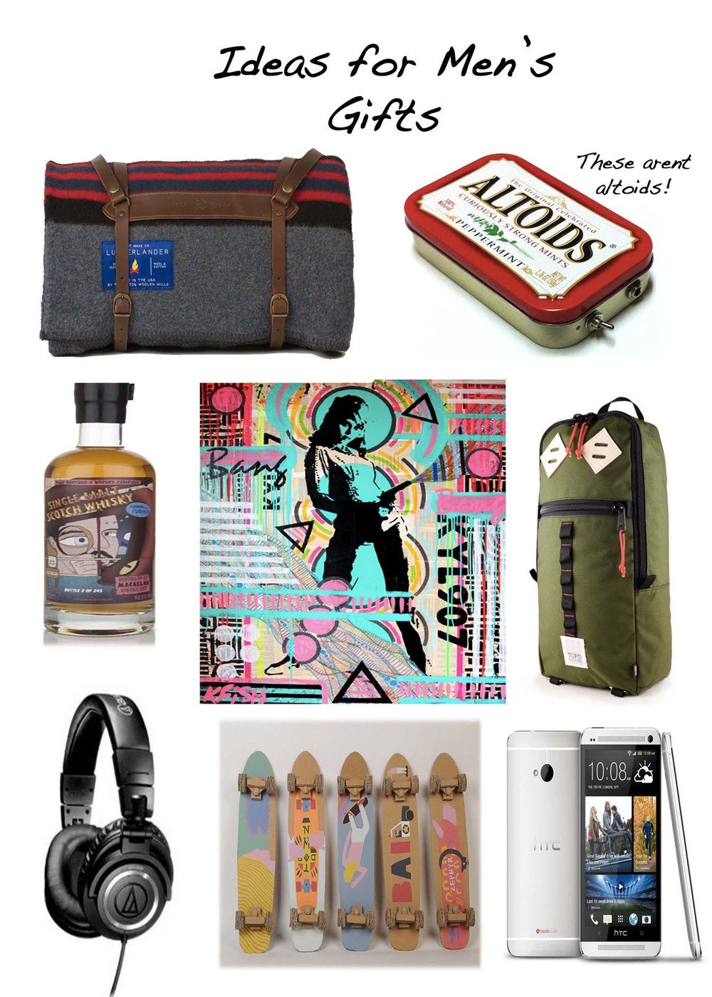 Blanket by Best Made Co Altoids Headphone Amp by Hesslerk Scotch by Master of Malt Originial Artwork by Kelcey Fisher Headphones by Audio Technica Skateboards by Dominic Owen HTC One Phone by HTC