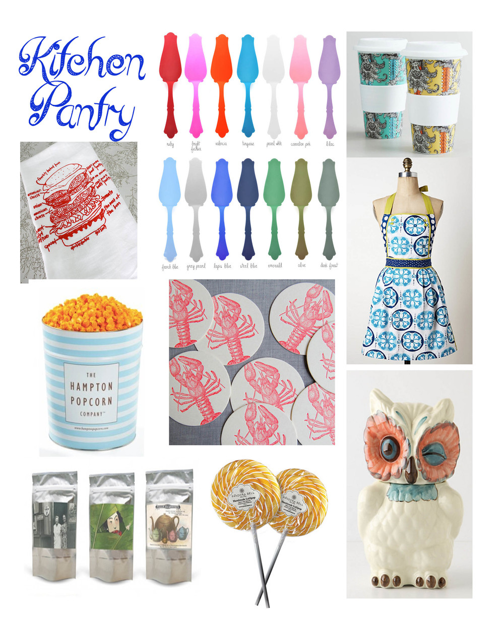 Tart Server at Leif Coffee Cups at World Market Cheeseburger Tea towel at GirlsCanTell Apron at Anthropologie Popcorn at Hampton Popcorn  Coasters at Sesame Letter Press Postcard Tea at Postcard Teas  Lollipops at Pandora Bell Cookie Jar at Anthropologie
