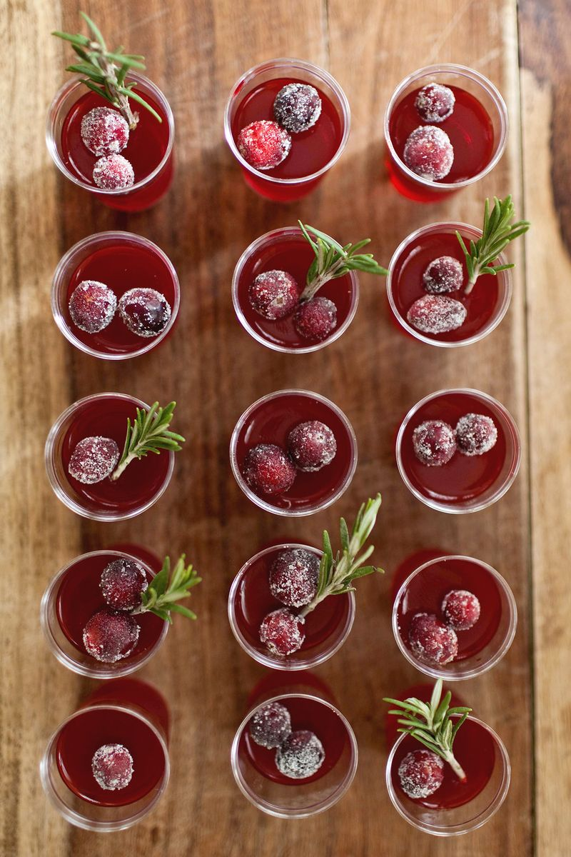 Cranberry Jello Shots via  A Beautiful Mess