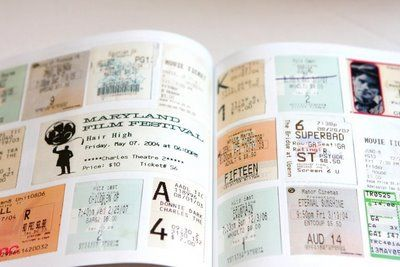 Book made from couple's concert tickets, movie ticket stubs, etc. via  Snippet & Ink