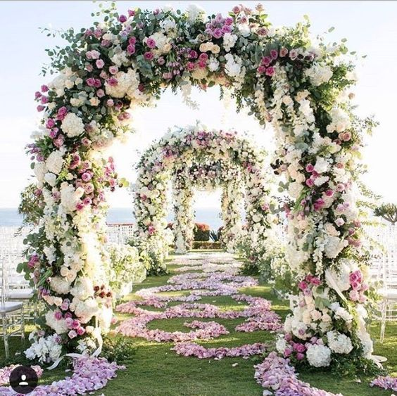 Floral Color Palette: Whites with purples and greenery. Color example only.