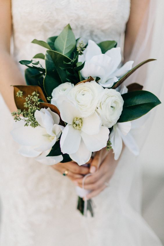 Bridesmaids and other personal florals to be smaller in white (less greenery than above) with sprig of purple. Sizing similar to this.