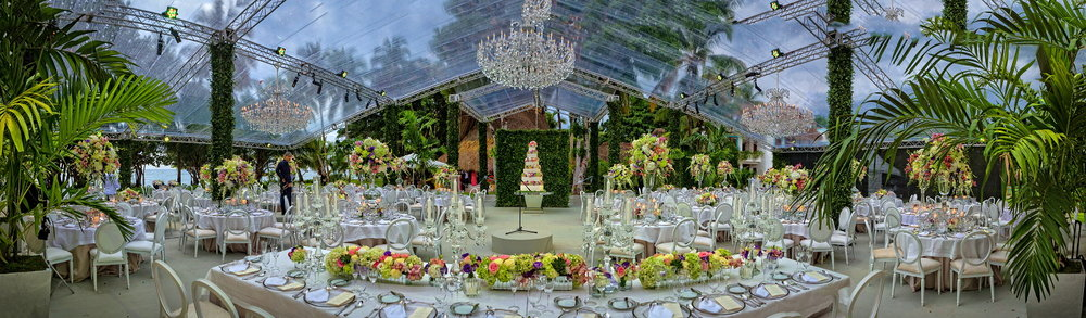 Similar styled floorplan. Cake Centered. Scaled to appropriate size for wedding party. Ask about options for truss covers. Mix of longs and rounds. Mix of high and low floral arrangements.
