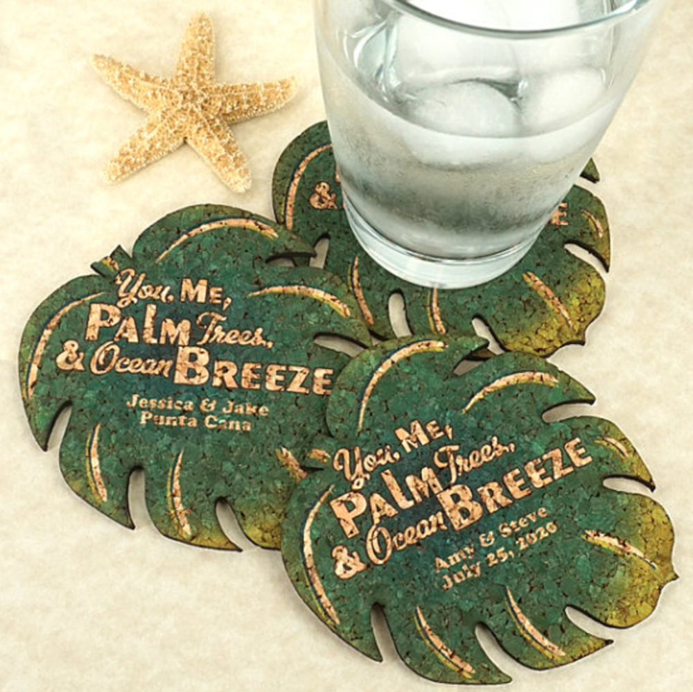 Tropical, personalized coasters and other fun details.