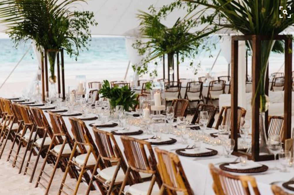 White Tables with Bamboo Chairs