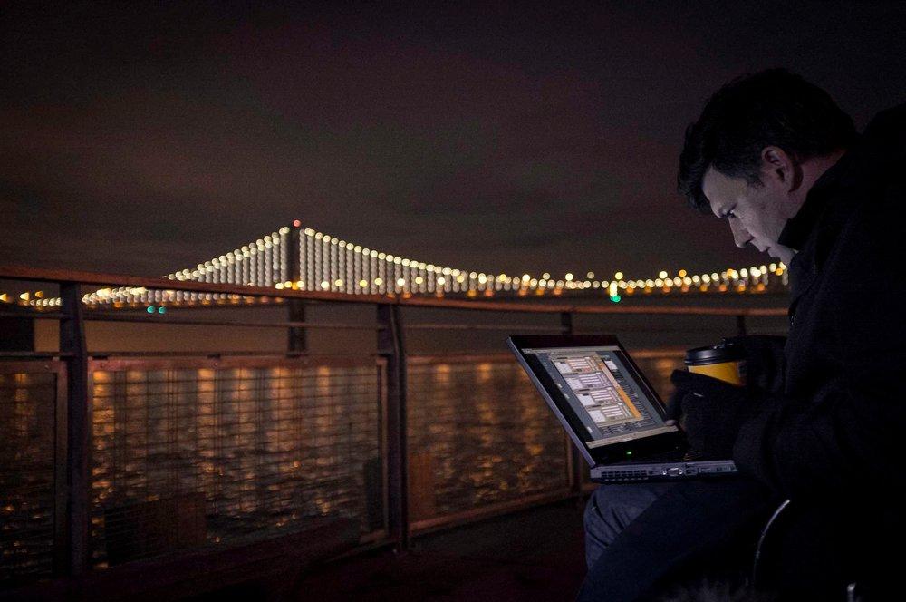 Leo Villareal programming The Bay Lights  Photograph by Lucas Saugen