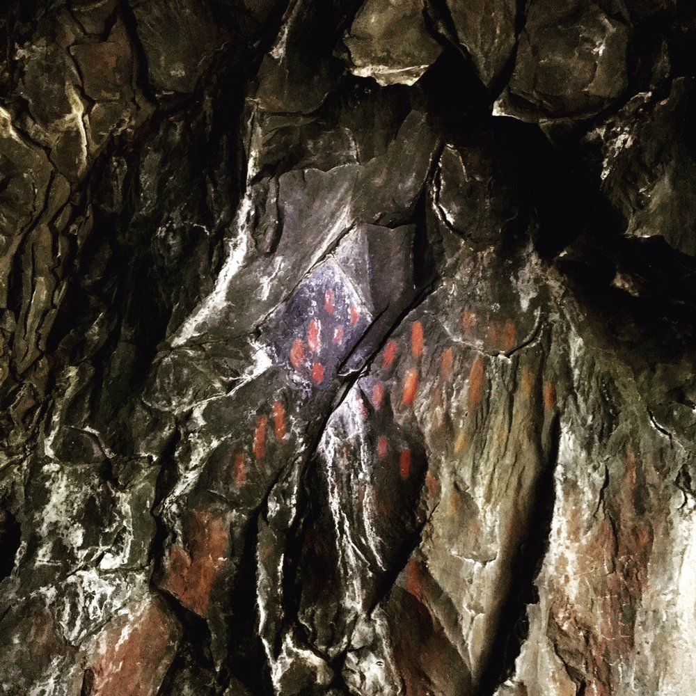- an example of painted rock art within the caves