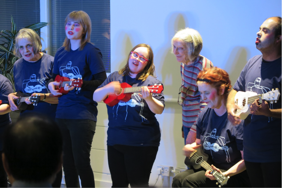 Rowan's music group performing in a recent concert at the Cass Centre in Cambridge
