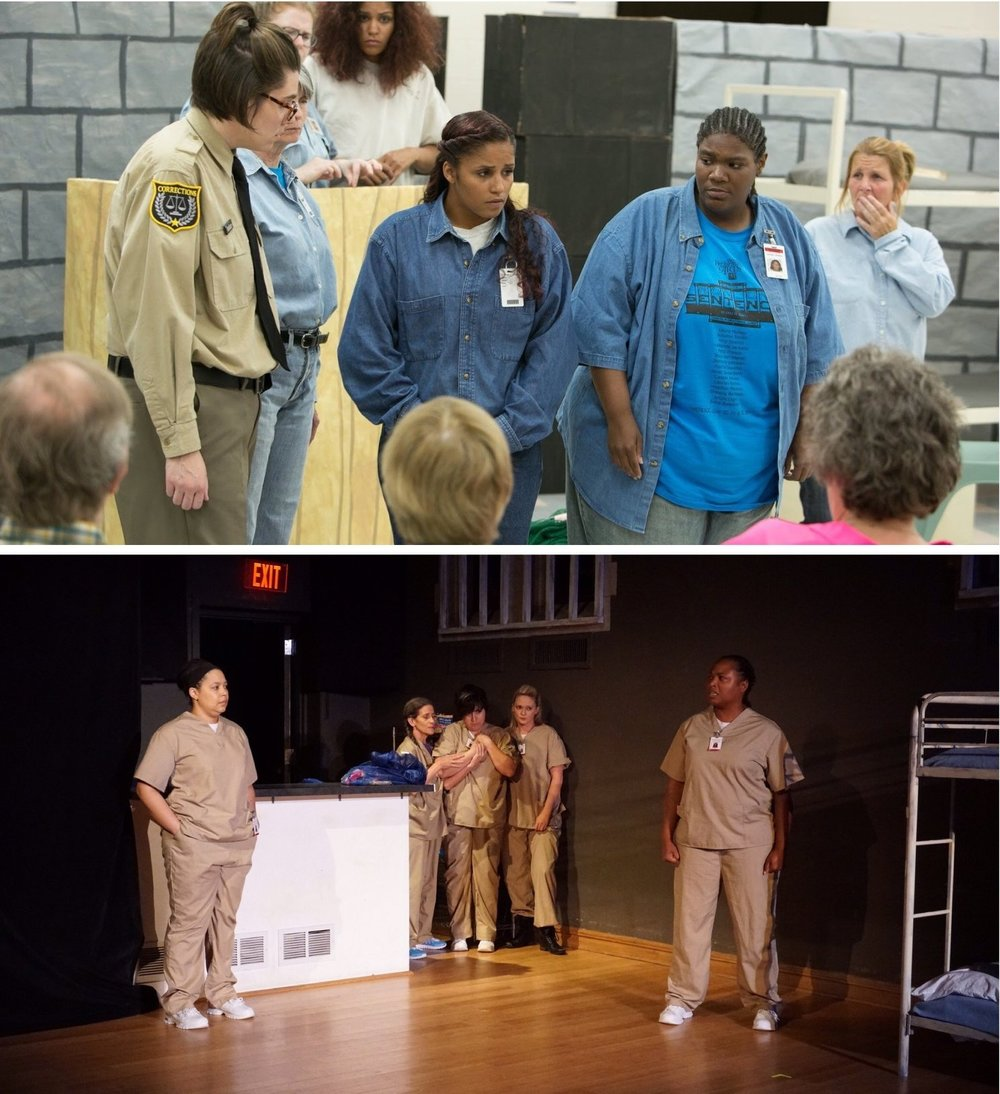 Top photo: premiere of Run-On Sentence at    Women's Eastern Reception, Diagnostic and Correctional Center   . Bottom photo: production of Run-On Sentence by    SATE   .