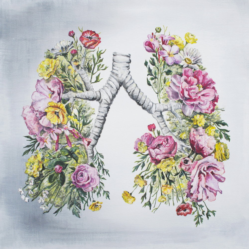 Floral Anatomy Lungs (ITEM NO: 010)  Print Size: 8x8 inches   $12.50 Wholesale at 50% off  $25 RRP