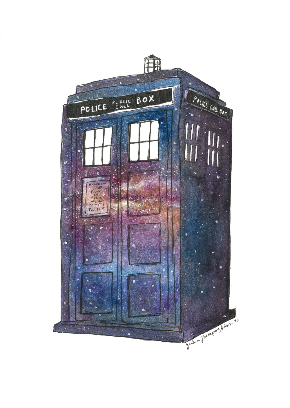 Galaxy Tardis (ITEM NO: 001)  Print Size: 8x10 inches   $12.50 Wholesale at 50% off  $25 RRP