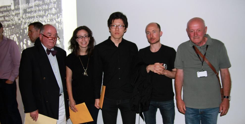 Jury Members, Richard Elkington & Lou Weis, with Cr. Peter Gibbons awarding the student prize winners, The Explorers, Carl Hong & Farrah Dakkak, Brad Clothier (Absent)