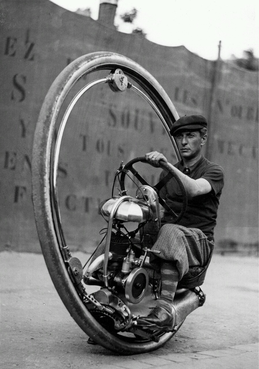 Unknown man rides a Walter Nilsson monowheel in 1933 France