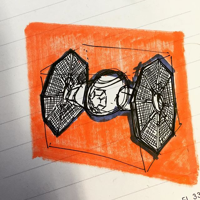 Tie-Fighter lunch doodle