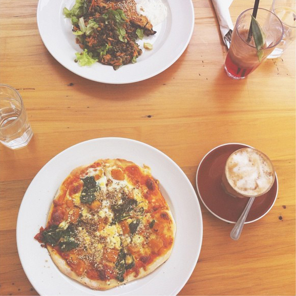 Homemade Pizza & Soy Latte!