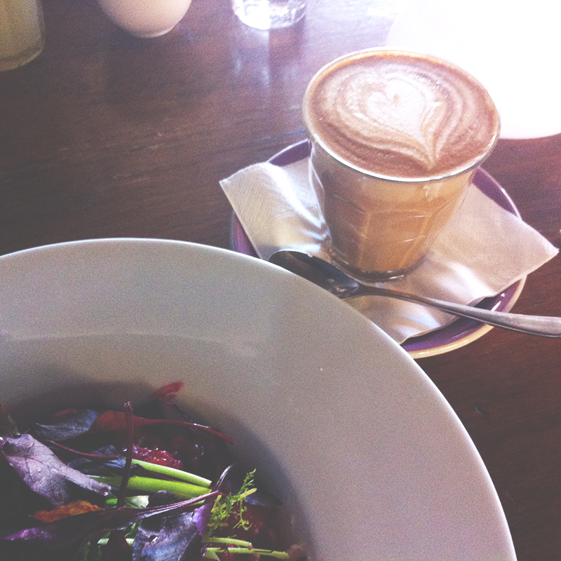 Beetroot risotto & soy latte from Mockingbird.