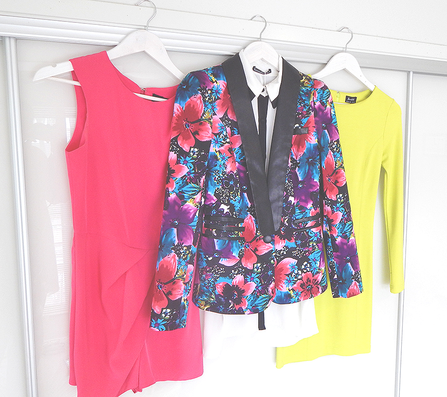 Some of my favorite bright items including cute jumpsuit from ASOS, black & white blouse and floral blazer from Honey & Beau & fitted lime panel dress from Bardot.. Keep an eye out for blog post coming soon featuring some of these gooides!